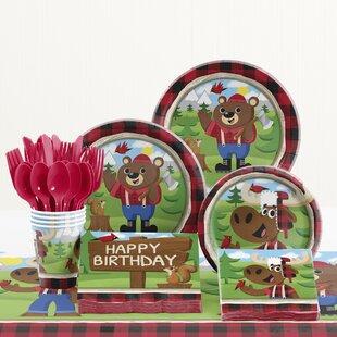 81 Piece Lum-Bear Jack Birthday Paper/Plastic Tableware Set
