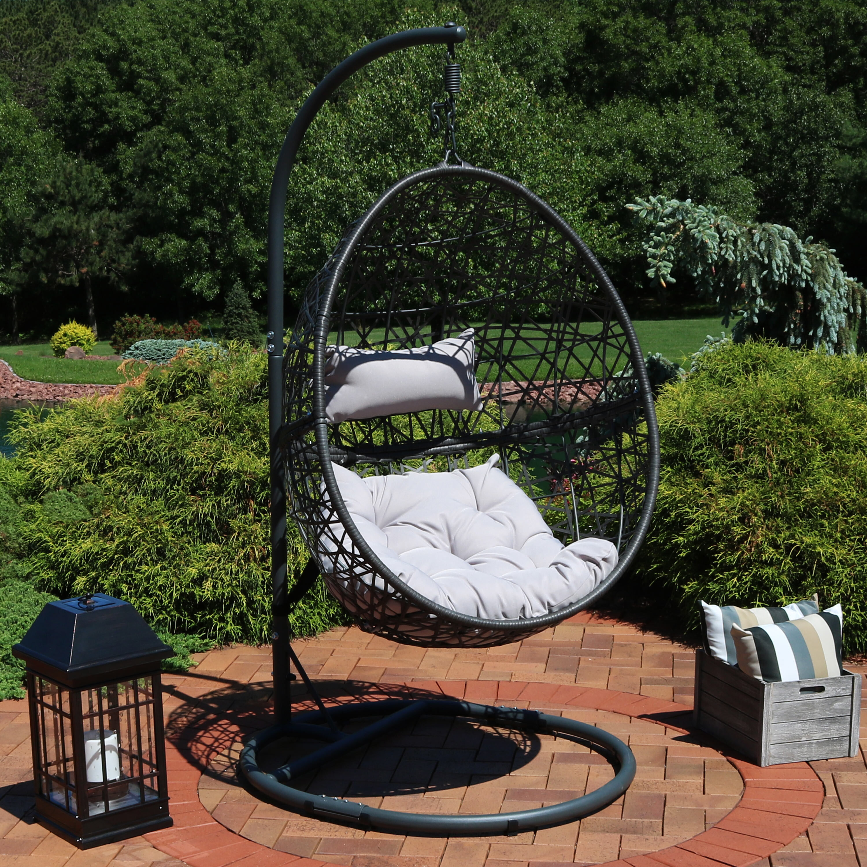 Desert Moon with Charcoal Frame PNAEUT Double Hammock with Space Saving Steel Stand Garden Outdoor Indoor