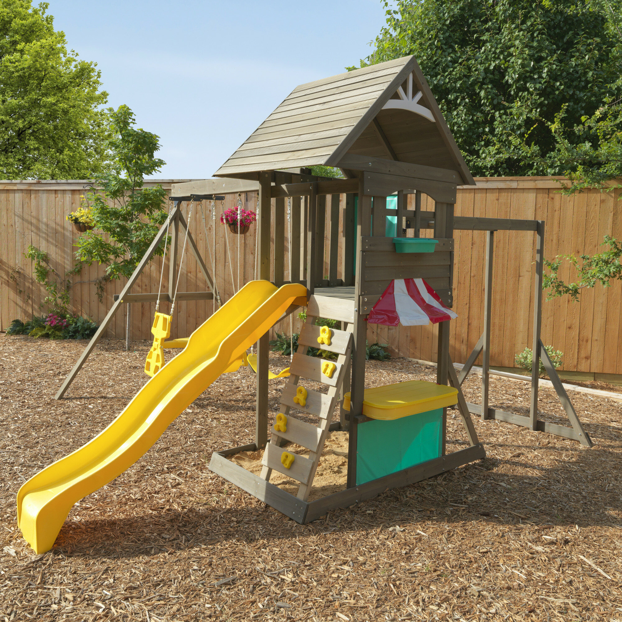 Kidkraft Hampton Wooden Swing Set Reviews Wayfair
