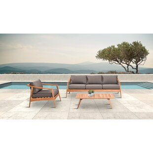 Hogue 3 Piece Teak Sofa Seating Group with Sunbrella Cushions by Rosecliff Heights