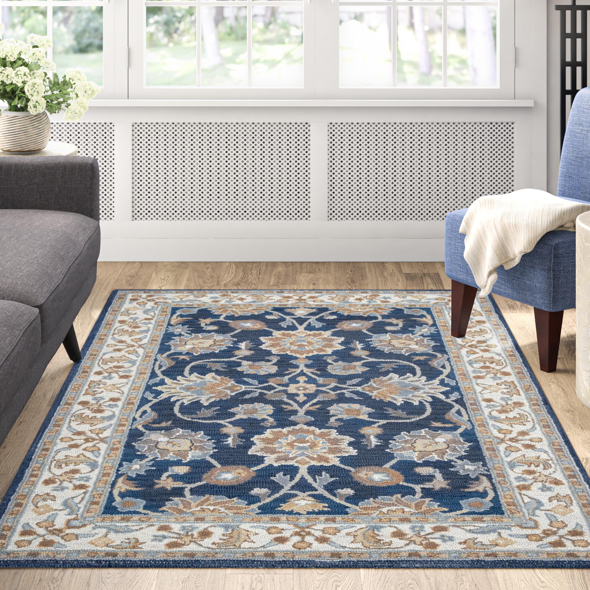 Ilario Oriental Handmade Tufted Wool Blue Area Rug Reviews Birch Lane
