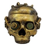 "World Menagerie Steampunk Cyborg Robotic Skull Jewellery Box Figurine 7.5"" L Decorative Skull Bowl Container Trinket Storage Box"