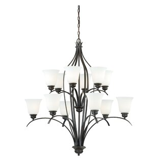 Ebern Designs Nicholas 12-Light Shaded Chandelier