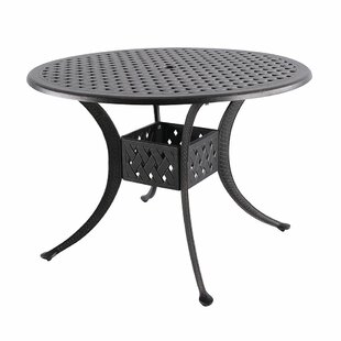 Cobblestone Metal Dining Table by Fleur De Lis Living