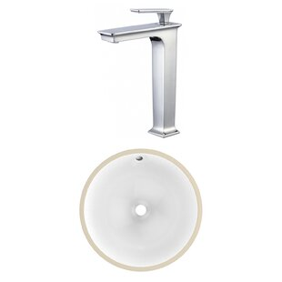 Affordable CSA Ceramic Circular Undermount Bathroom Sink with Faucet and Overflow By American Imaginations
