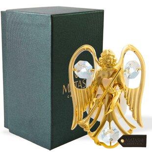 Matashi Crystal 24K Gold Plated Crystal Studded Guardian Angel LED Night Light