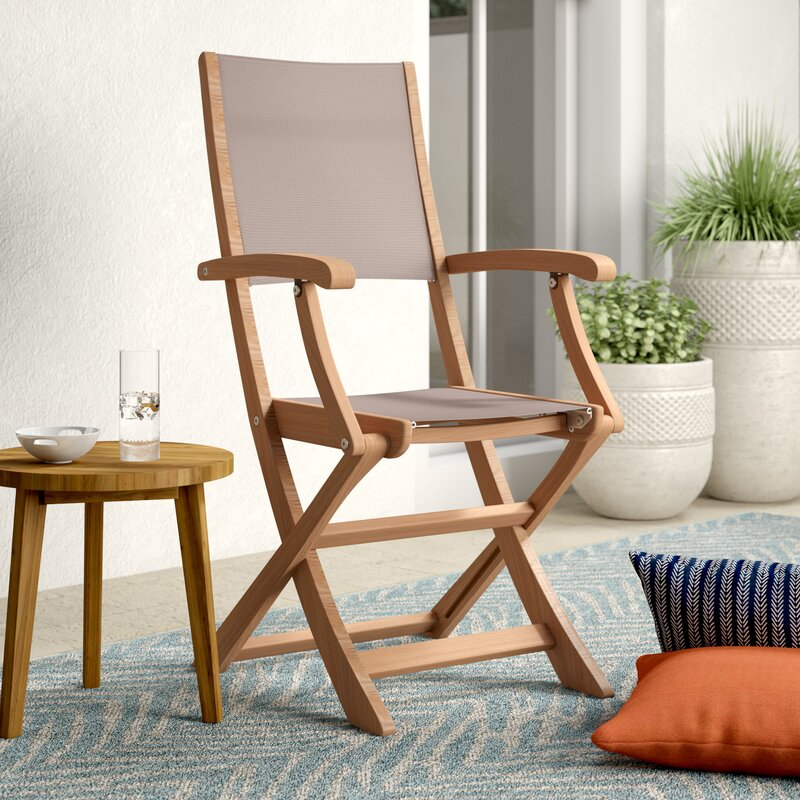Rosecliff Heights Crider Folding Teak Patio Dining Chair ...