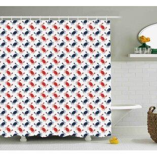 Duane Crabs Sea Animals Theme Crabs on White Background Vintage Pattern Decorative Print Single Shower Curtain