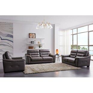 Latitude Run Koerner 3 Piece Leather Living Room Set