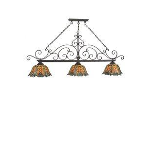 Meyda Tiffany Duffner Kimberly Shell and Diamond 3-Light Pool Table Lights Pendant