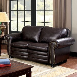 Zuri Nailhead Leather Loveseat by A&J Homes Studio
