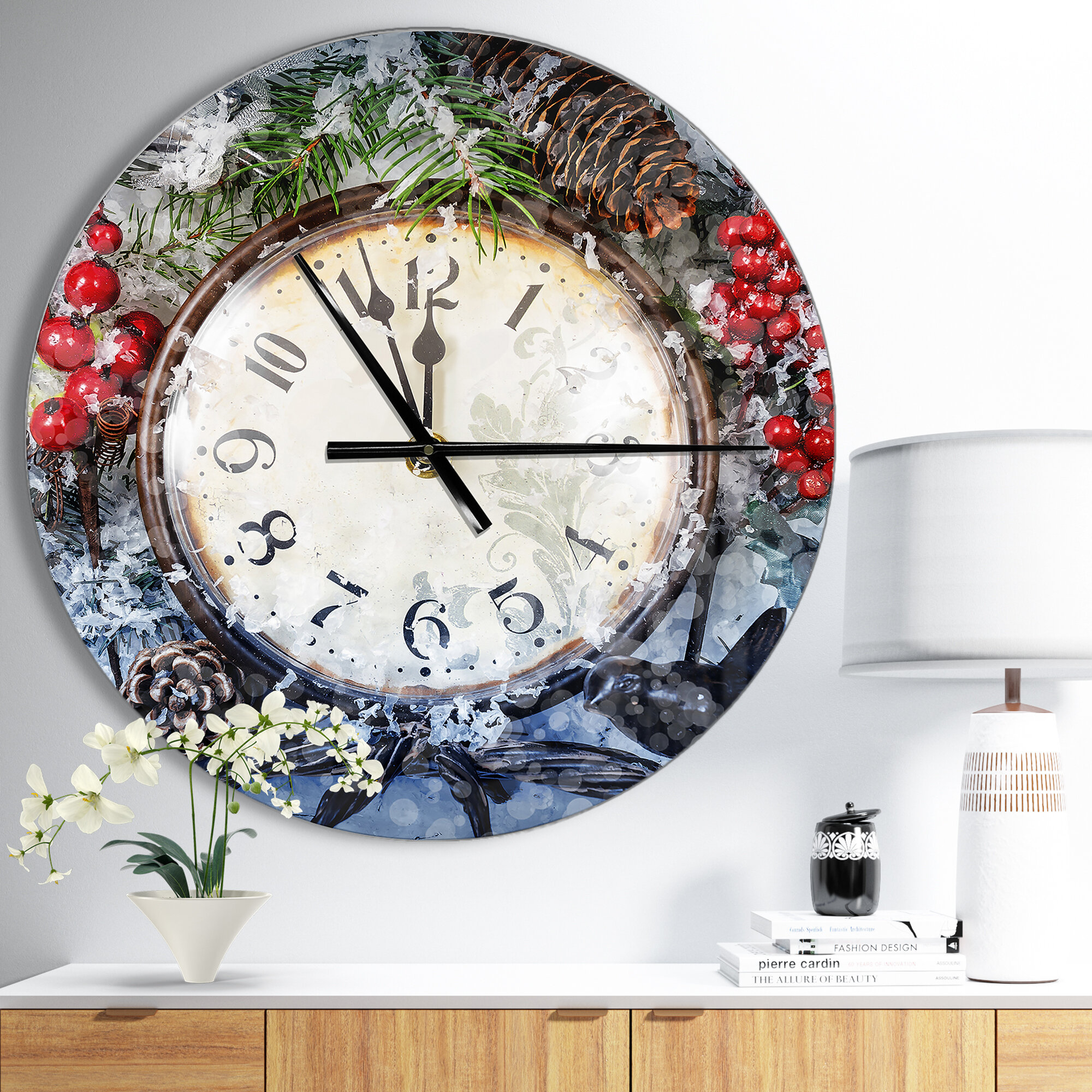 East Urban Home Oversized Farmhouse Designart Christmas Atmosphere Rustic  Wall Clock | Wayfair