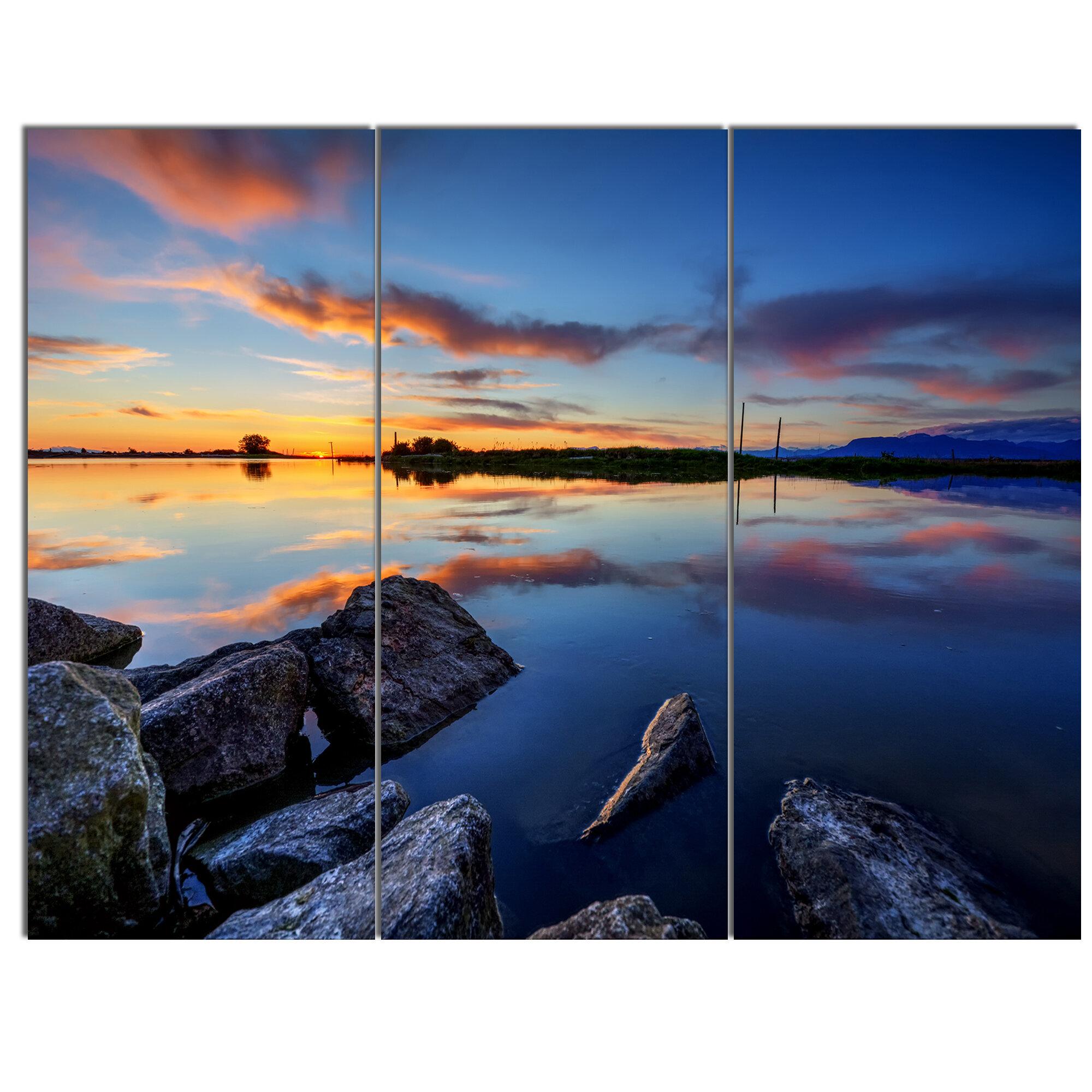 Beautiful Fog Sunset Seascape SINGLE CANVAS WALL ART Picture Print VA