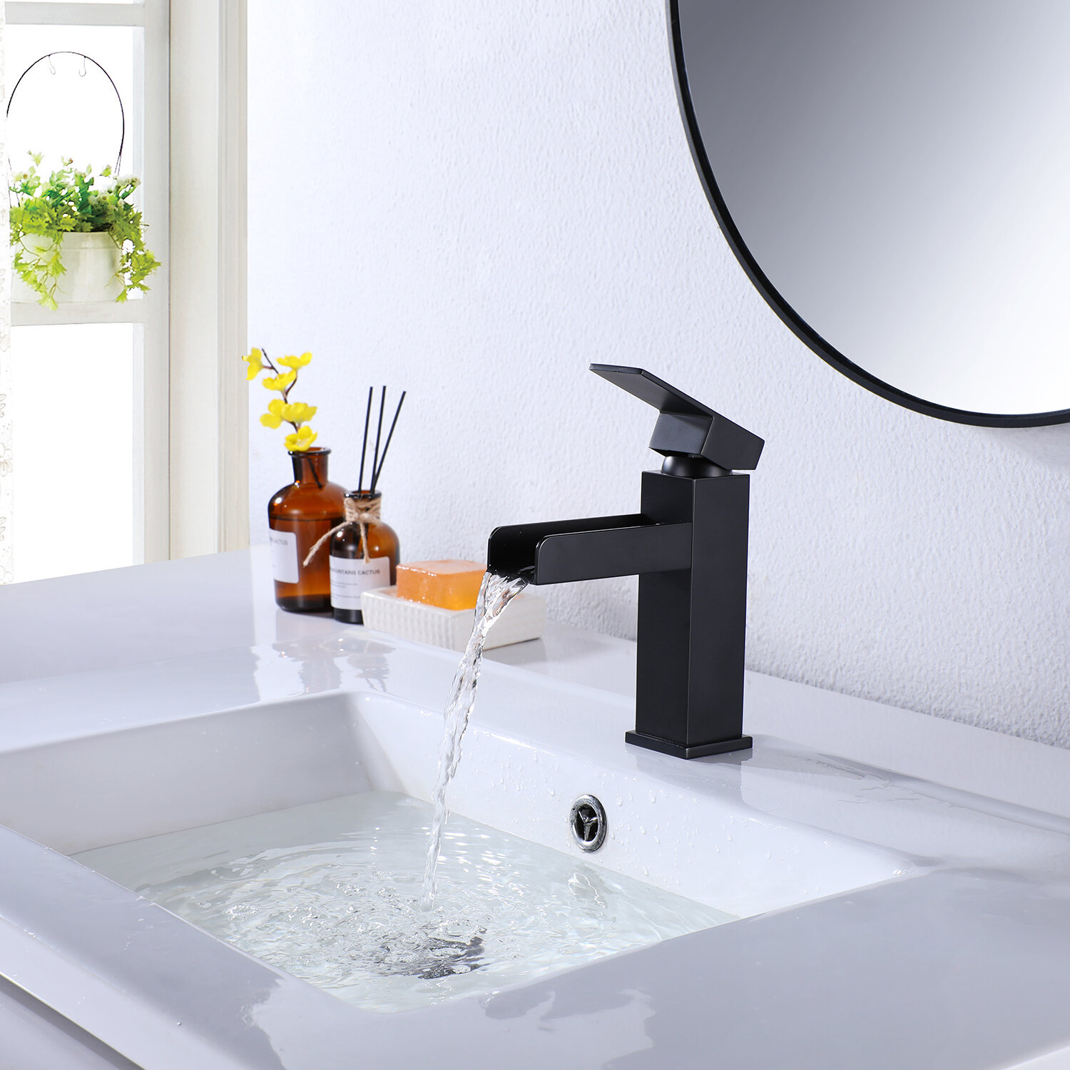 Picture of: Modland Contemporary Matte Black Waterfall Bathroom Vanity Sink Faucet Bathroom Sink Faucet With Deck Plate Wayfair Ca