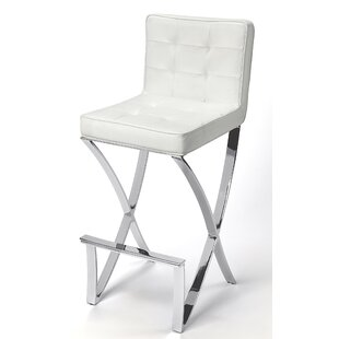 Higden Plated Faux Leather 28.5'' Bar Stool