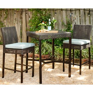 Bungalow Rose Joshua 3 Piece Dining Set with Cushions