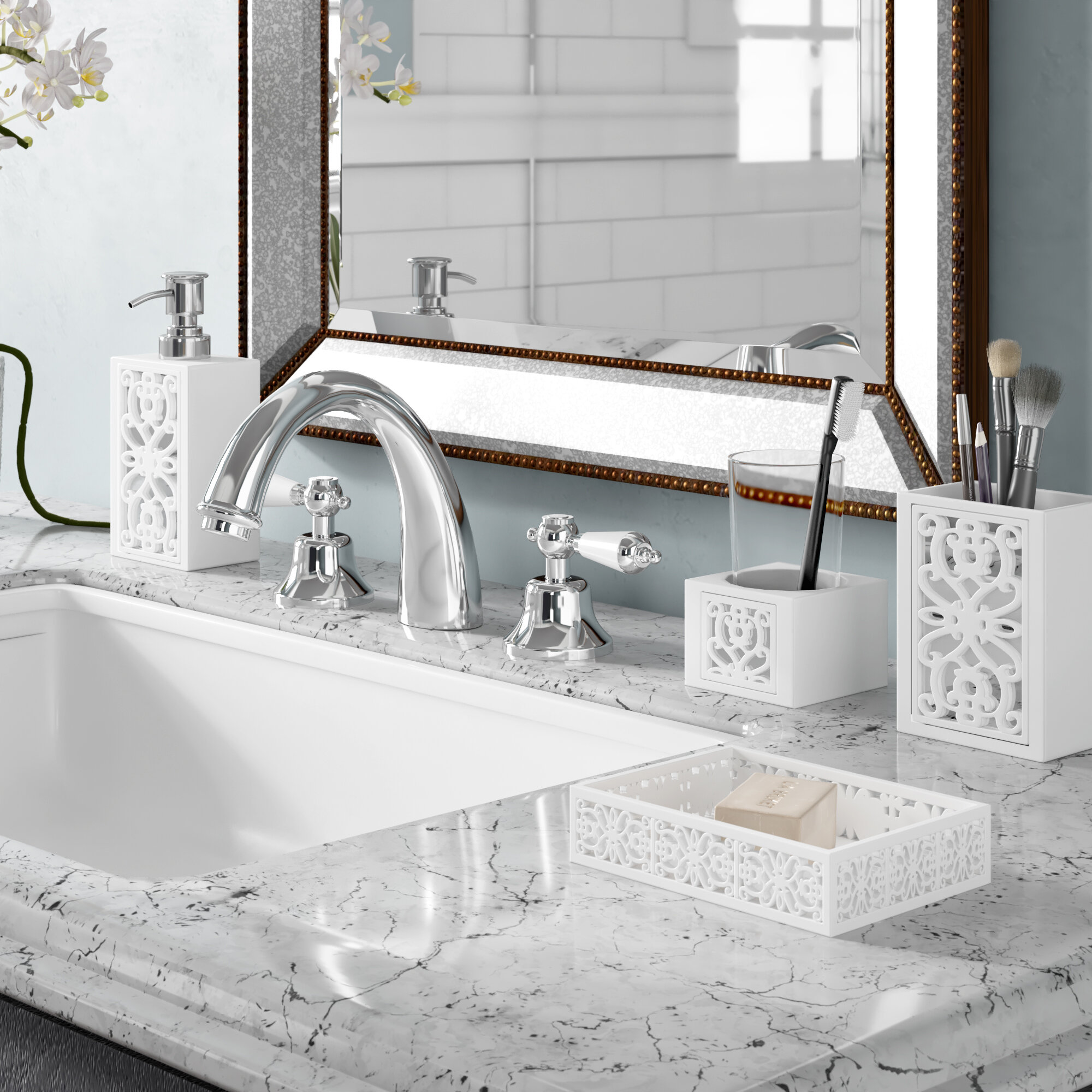 Mirror Janette 7 Piece Bathroom Accessories Set