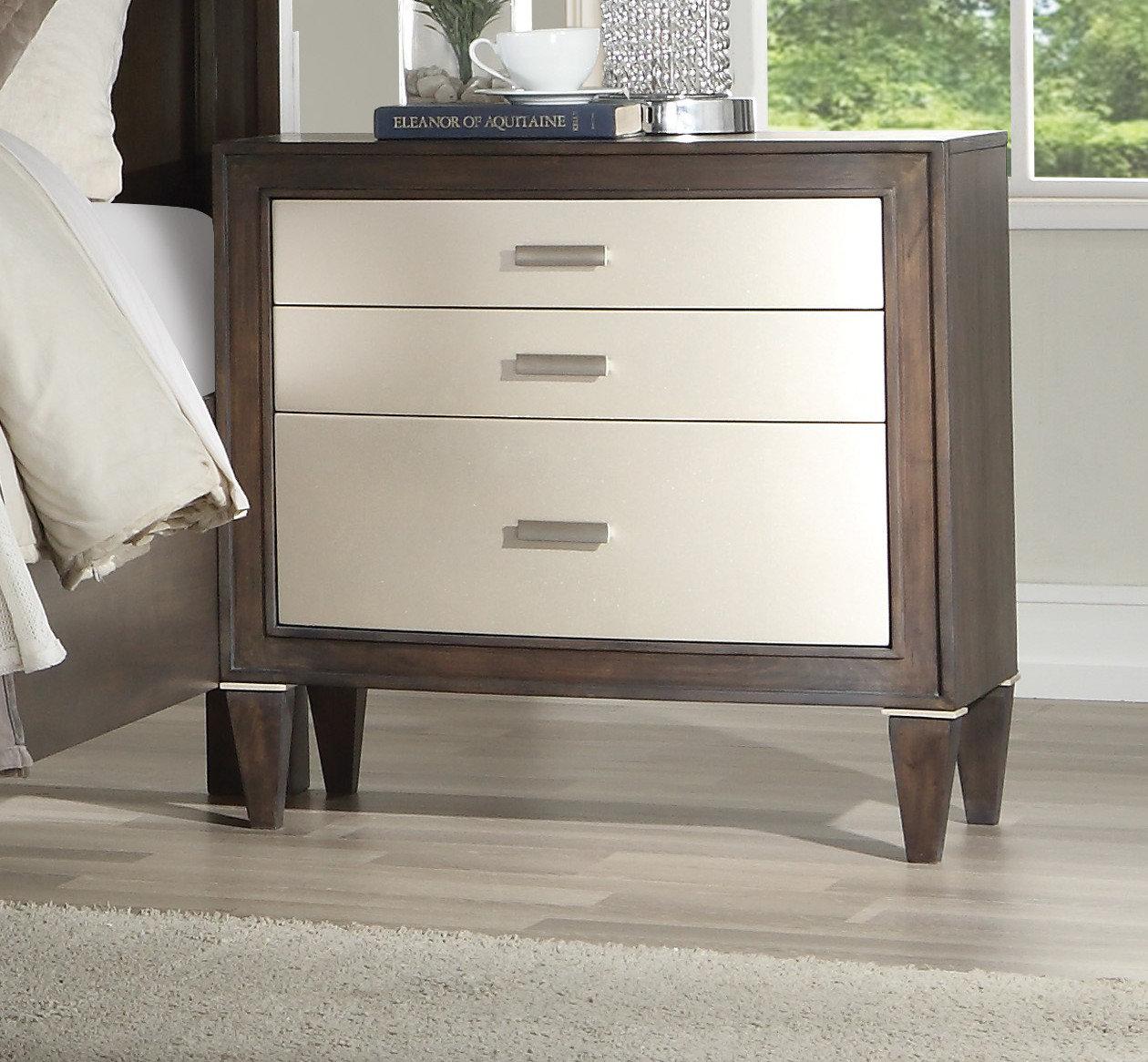 Bernards Bellamy 3 Drawer Bedroom Nightstand in Espresso Wood
