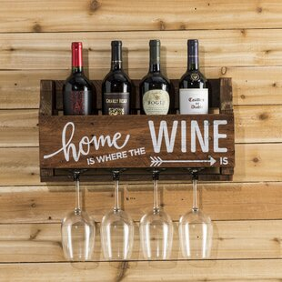 Mccandless Home is Where 4 Bottle Wall Mounted Wine Rack
