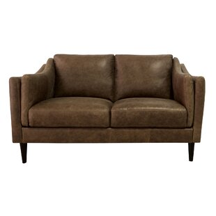 Riley Leather 58 Square Arms Loveseat