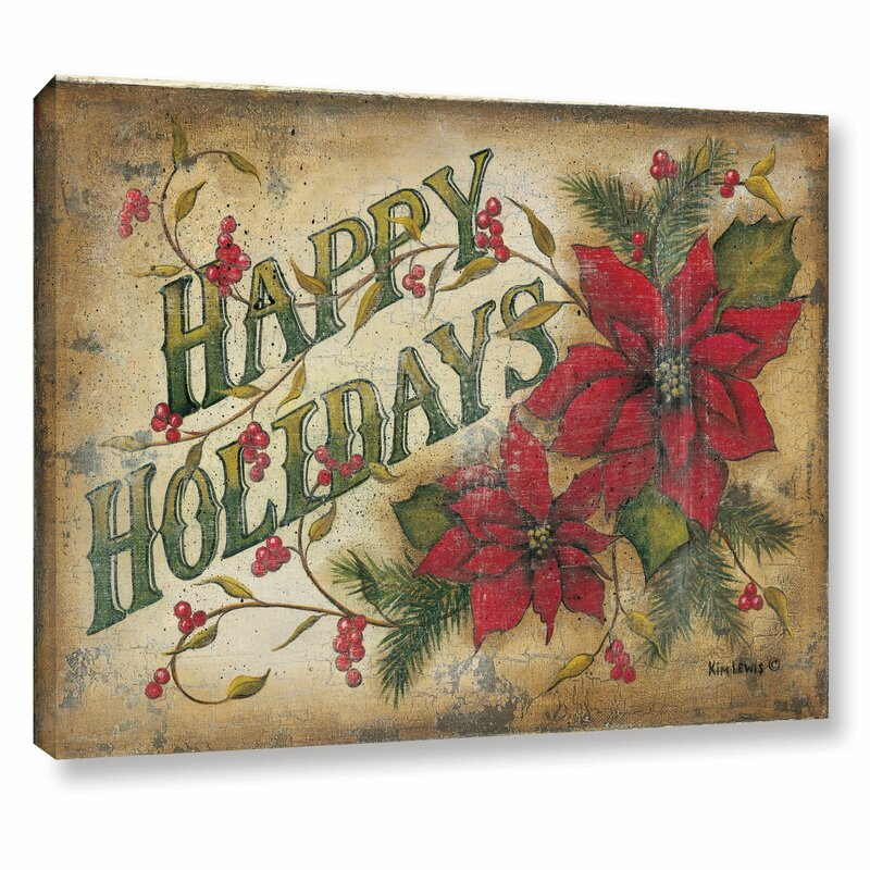 Happy Holidays Poinsettia Textual Art on Wrapped Canvas