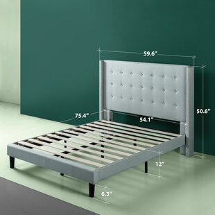 754859fc6e3 Alexio Upholstered Wingback Platform Bed Frame