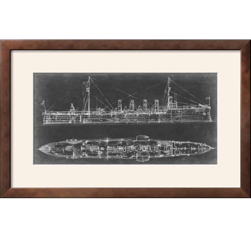 Navy cruiser blueprint framed graphic art print joss main navy cruiser blueprint framed graphic art print malvernweather Images