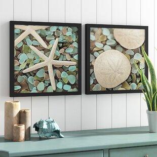 850a508267d  Aquatic 1 (Seaglass and Starfish) and Aquatic 2 (Seaglass and Sand Dollar) Wall  Decor Coastal Beach  Framed Graphic Art Print Poster