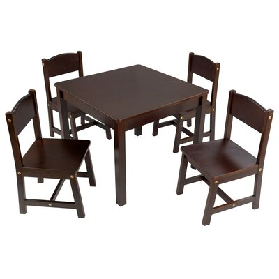 KidKraft Farmhouse Kids 5 Piece Writing Table and Chair Set Color: Espresso