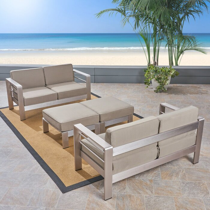 Amazing Royalston Outdoor 4 Seater Aluminum Loveseat And Ottoman Set Creativecarmelina Interior Chair Design Creativecarmelinacom
