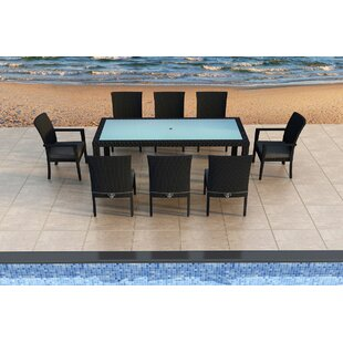 Harmonia Living Urbana 9 Piece Sunbrella Dining Set with Cushions
