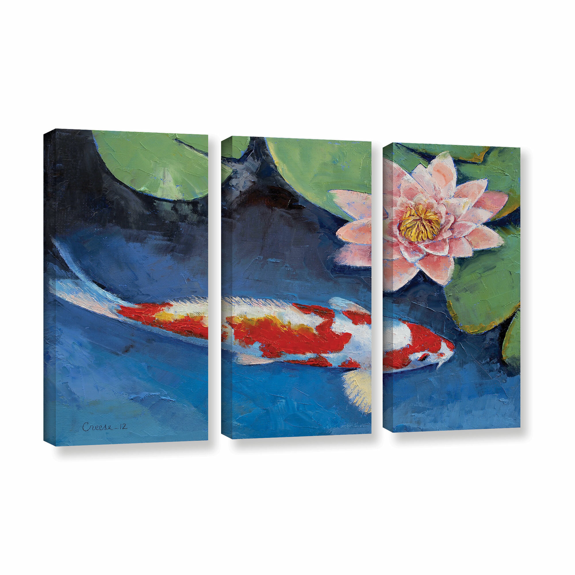 a38e689c6342 ArtWall Koi And Water Lily by Michael Creese 3 Piece Painting Print on  Gallery Wrapped Canvas Set