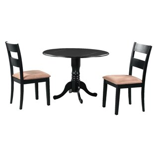 Brompton 3 Piece Drop Leaf Solid Wood Dining Set by Alcott Hill Find