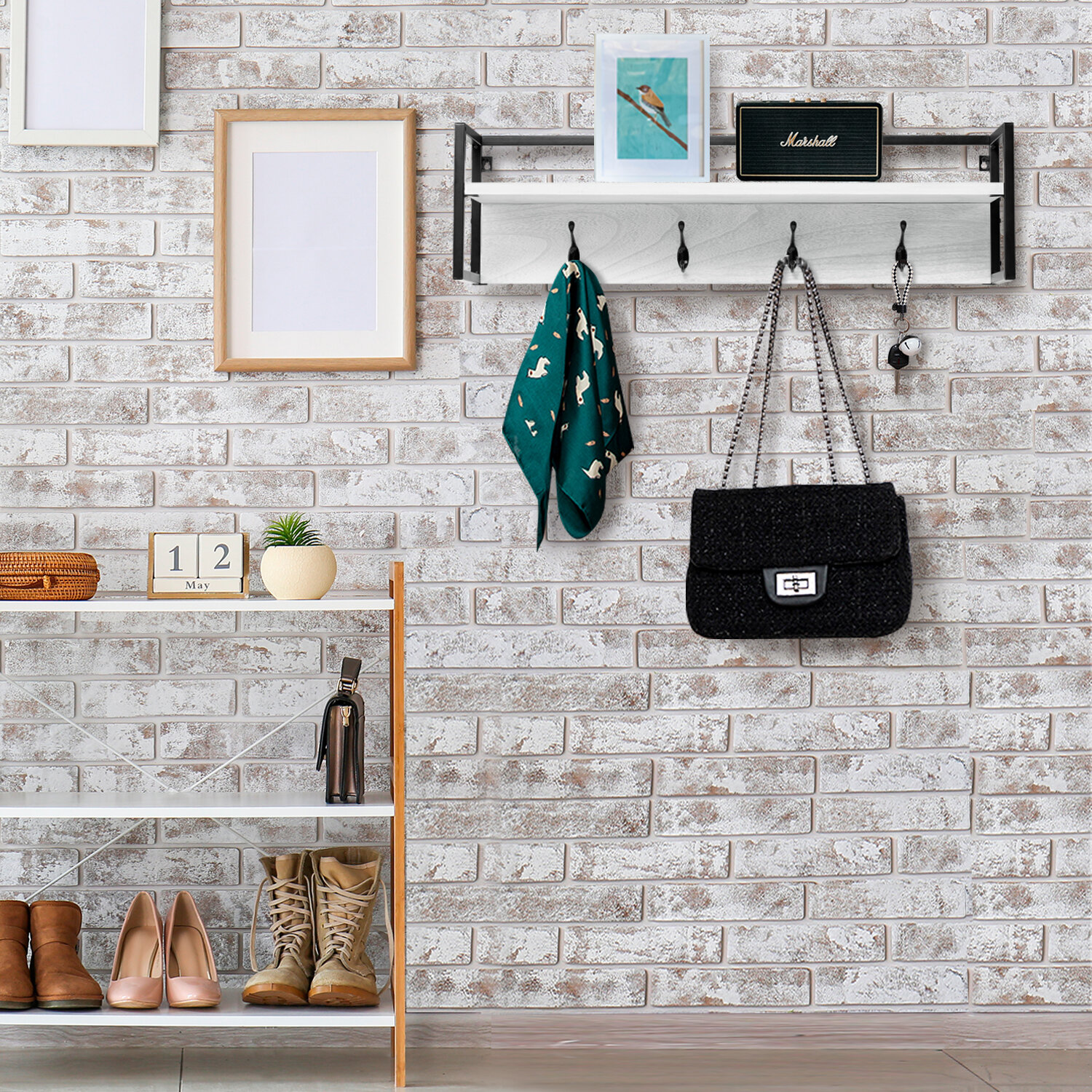 17 Stories Aarzoo 4 - Hook Wall Mounted Coat Rack with Storage