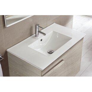 Clearance Amya Ceramic Rectangular Drop-In Bathroom Sink with Overflow ByOrren Ellis