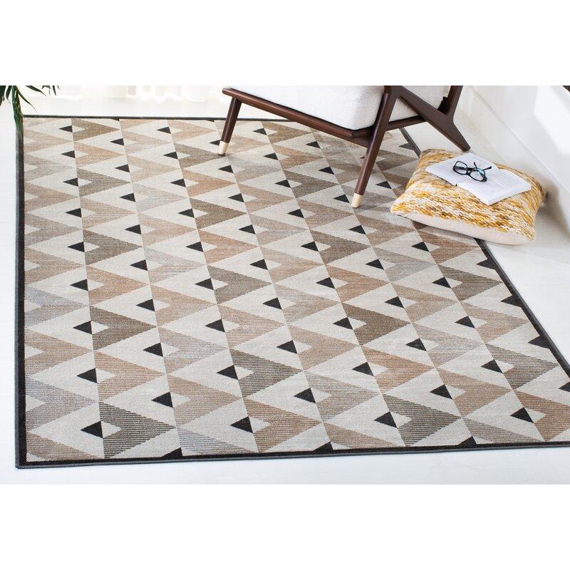 Wrought Studio Aled Geometric Gray Beige Area Rug Wayfair