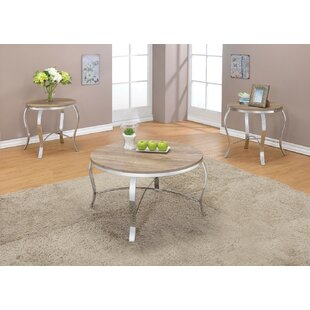 Wrought Studio Giron Metal and Wooden 3 Piece Coffee Table Set