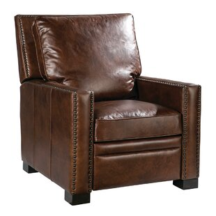 Velia Leather Manual Recliner Canora Grey