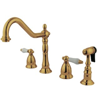 Kingston Brass Heritage Double Handle Kitchen Faucet with Side Spray