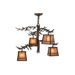 Meyda Tiffany Pine Branch Valley View 4-Light Shaded Chandelier