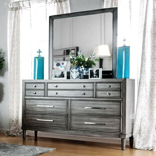Slough 10 Drawer Double Dresser with Mirror