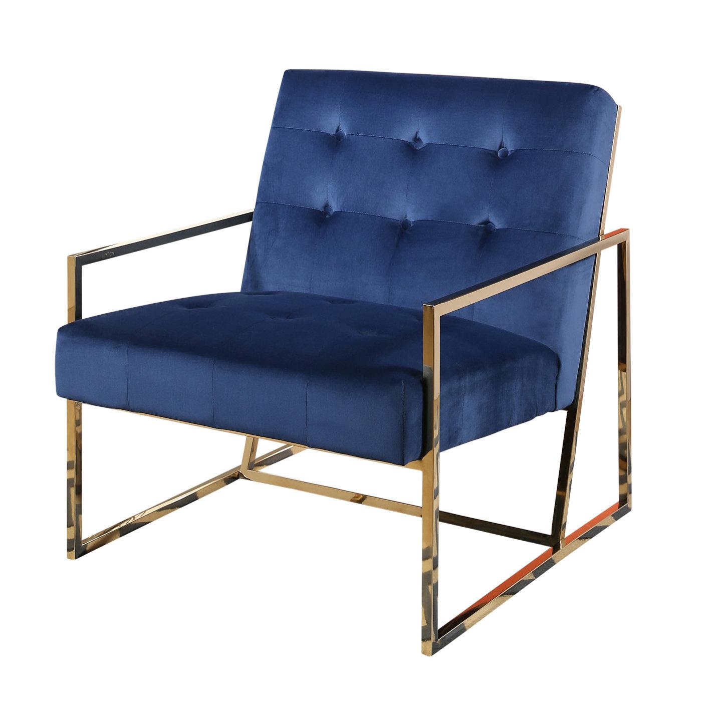 Mercer41 Redbridge Stainless Steel Velvet Arm Chair | Wayfair
