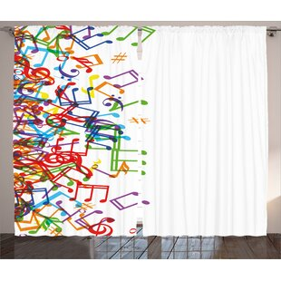 Dalzell Colorful Home Trippy Style Music Notes With Clef Rhythm Tempo Melody Harmony Print Graphic Text Semi Sheer Rod Pocket Curtain Panels Set Of