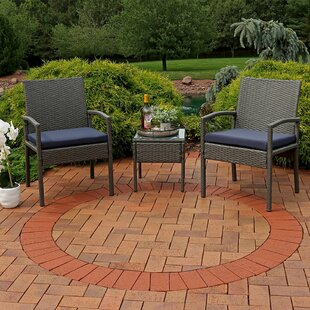 Pindall 3 Piece Rattan 2 Person Seating Group with Cushions