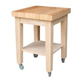 Cuthbert Kitchen Cart with Butcher Block by Rosecliff Heights