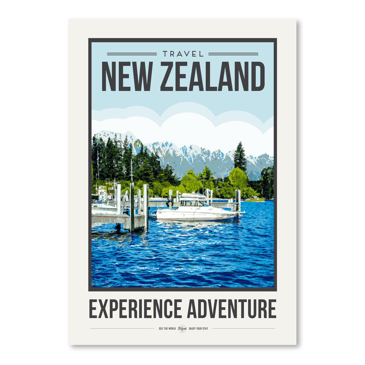 East Urban Home Travel Poster New Zealand Graphic Art