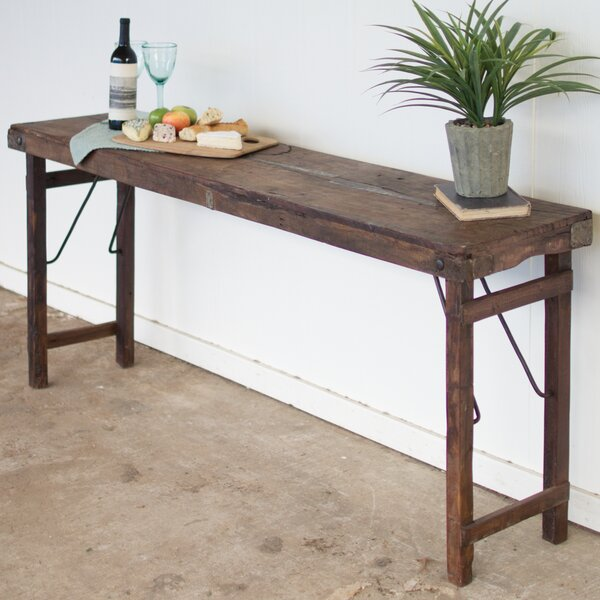 Gracie Oaks Jamie Antique Wooden Folding Console Table