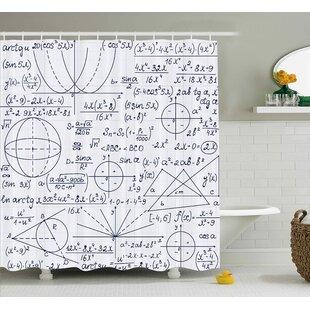 Jasmine Modern School Genius Bright Student Math Geometry Science Numbers Formules Image Shower Curtain