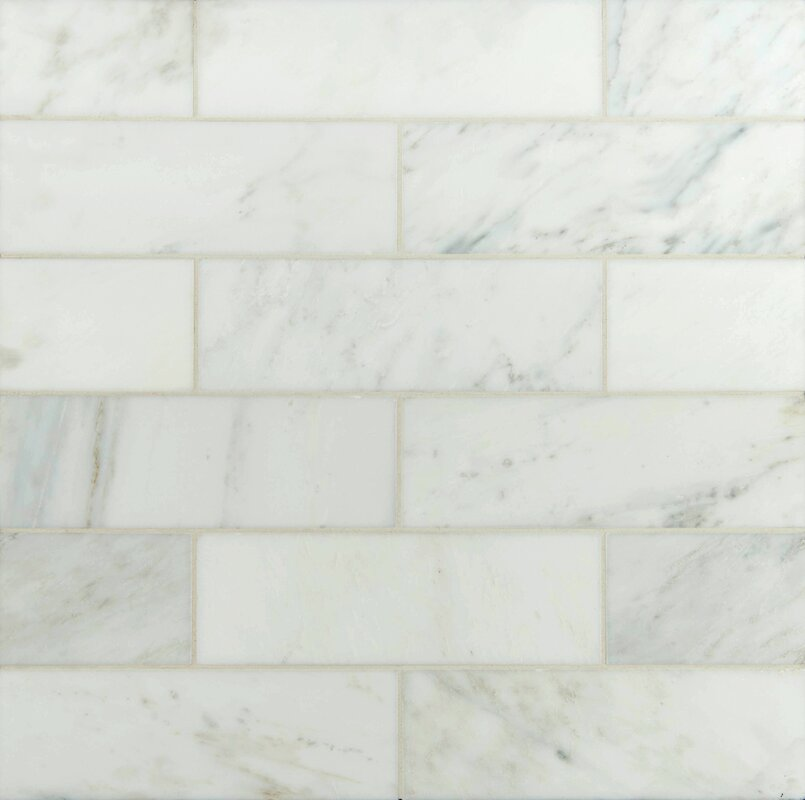 4 X 12 Polished Marble Tile In Carrara White