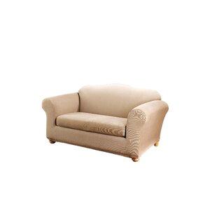 Stretch Stripe Box Cushion Loveseat Slipcover